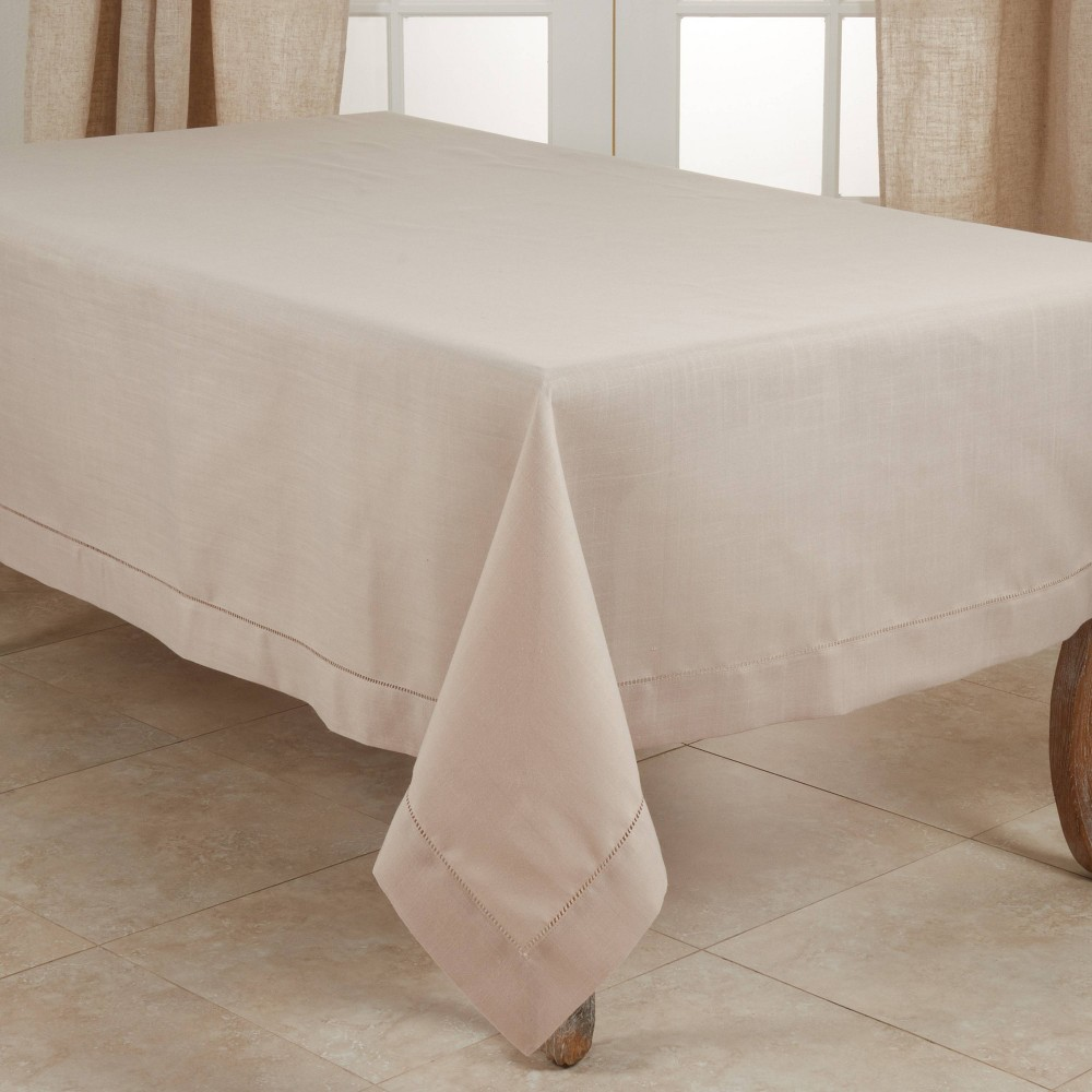 """160"""" X 70"""" Polyester Hemstitched Border Tablecloth Taupe Saro Lifestyle"""