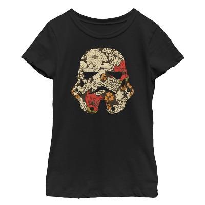 Girl's Star Wars Retro Floral Stormtrooper Helmet T-Shirt
