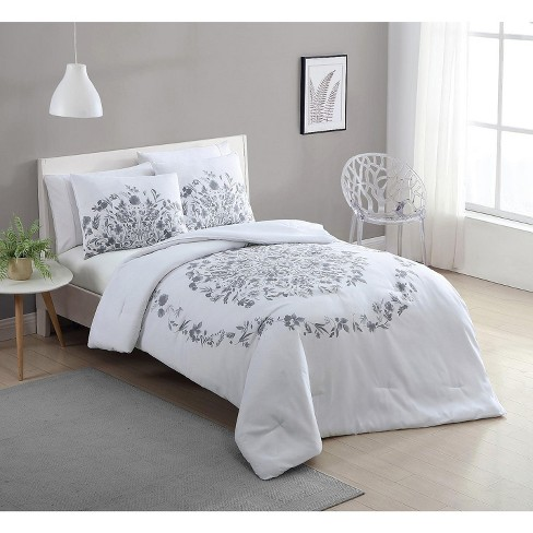 VCNY Home Lauren Black and White Floral Duvet Cover Set - White 2 Piece Twin XL - image 1 of 4