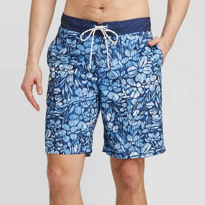 "Men's 9"" Floral Print Ikat Tropical Elastic Waist Swim Trunks - Goodfellow & Co™ Light Blue"