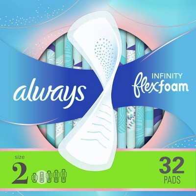 Always Infinity FlexFoam Pads without Wings - Super Absorbency - Unscented - Size 2