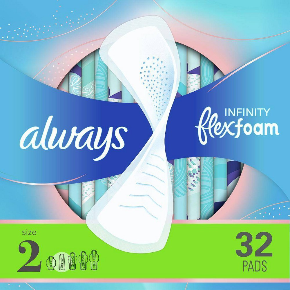Always Infinity Flexfoam Pads Without Wings Super Absorbency Unscented Size 2 32ct