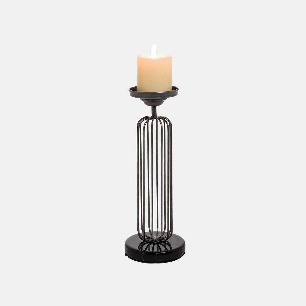 Small Cage Pillar Candle Holder - Foreside Home & Garden, Black
