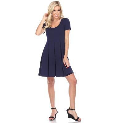 Women's Meghan Short Sleeve Fit & Flare Dress - White Mark
