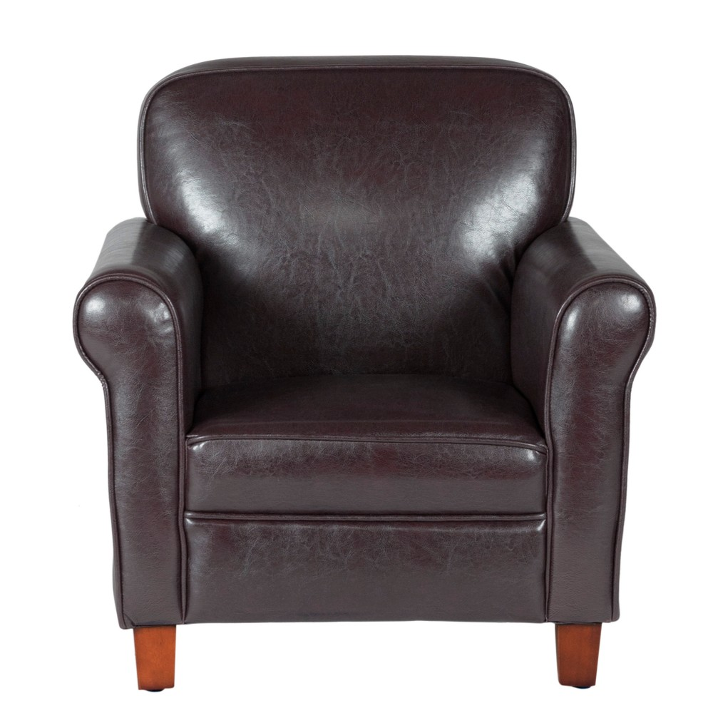 Image of Kids Faux Leather Accent Chair with Rolled Arms Brown - Homepop