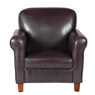 Gentil Kids Faux Leather Accent Chair With Rolled Arms Brown   Homepop