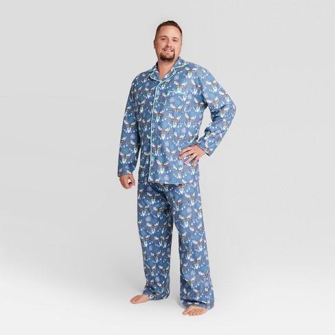 9c2a6caa29 Nite Nite Munki Munki Men s Holiday Moose Notch Collar Pajama Set - Blue