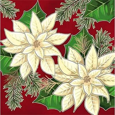 Evergreen Metallic Paper Luncheon Napkin 20 count White Flowers