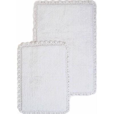 2pc Solid Crochet Bath Rug Set Ivory - Chesapeake