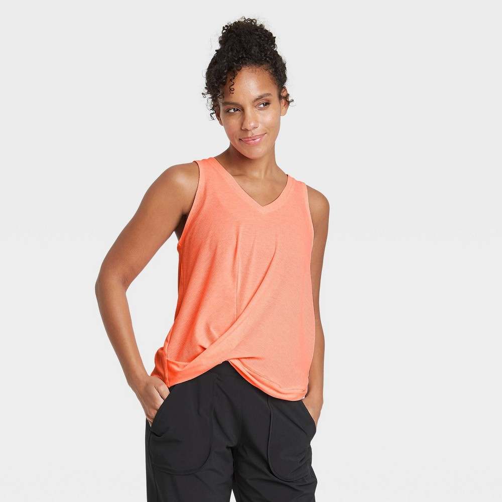 Women 39 S Twist Front Ribbed Tank Top All In Motion 8482 Coral Xs