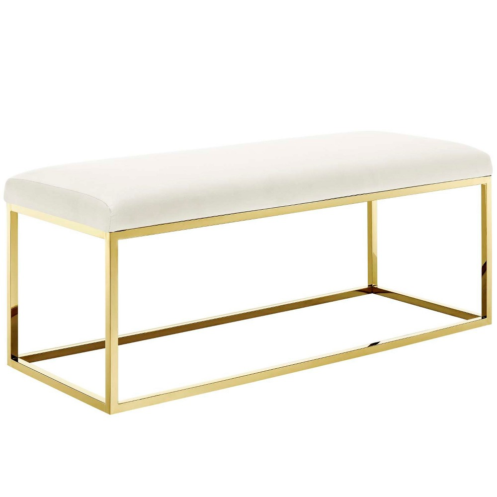 Anticipate Fabric Bench Gold Ivory - Modway, Off White