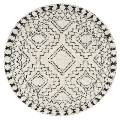 4' Round Loomed Area Rug Off-White - nuLOOM
