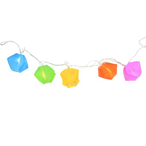 Northlight Set Of 10 Multi Color Diamond Chinese Lantern Patio And Garden Novelty Christmas Lights 8 Ing 9 5 Long White Wir