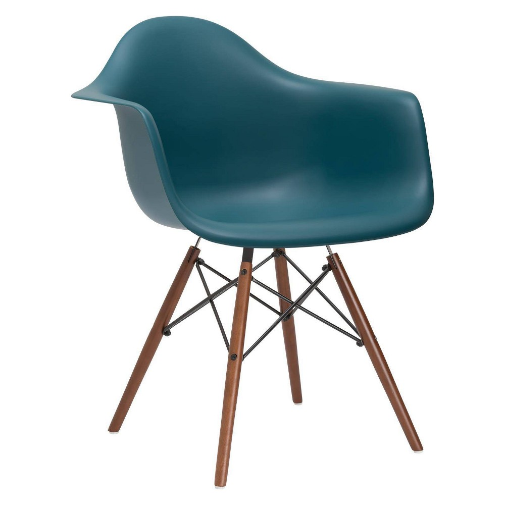 Image of Bianca Mid Century Arm Chair Walnut Leg Teal - Poly & Bark, Blue