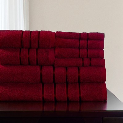 8pc Plush Cotton Bath Towels Set Burgundy - Yorkshire Home