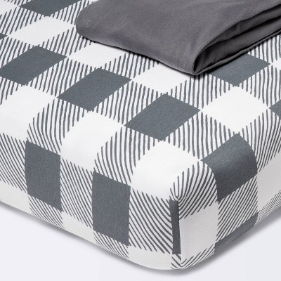 Fitted Crib Jersey Sheet Gingham - Cloud Island™ - Gray - 2pk