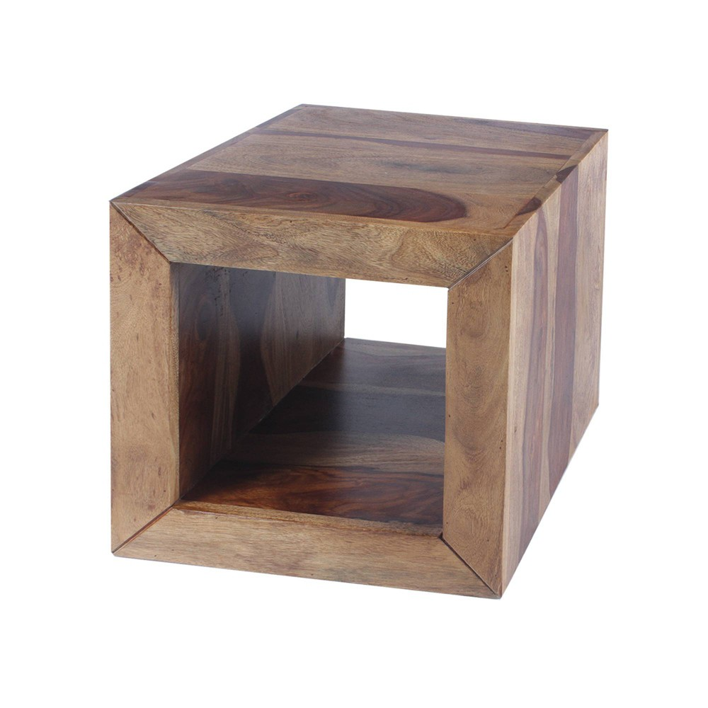 Image of Cube Shape Rosewood Side Table Brown - The Urban Port