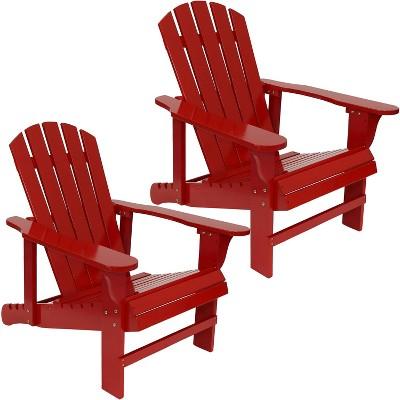 Sunnydaze Outdoor Natural Fir Wood Lounge Patio Adirondack Chair with Adjustable Backrest Set - Red - 2pk