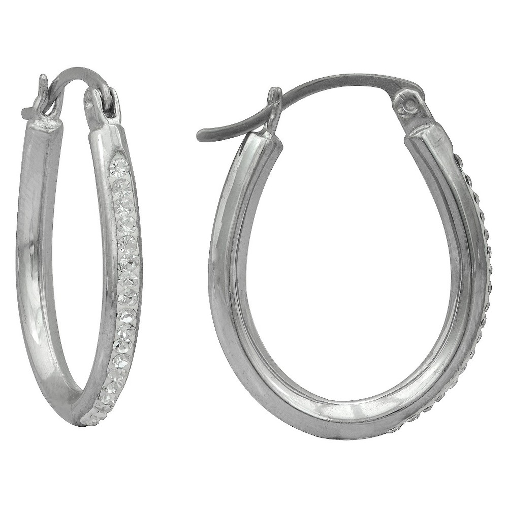 Women's Silver Plated Oval Crystal Hoop-White, Silver Gray