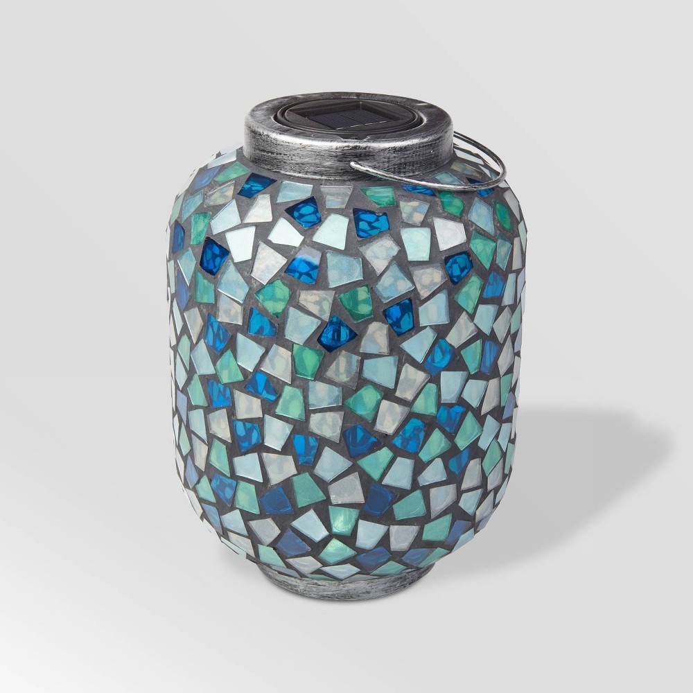 "Image of ""10"""" LED Mosaic Solar Outdoor Lantern Blue - Smart Solar"""