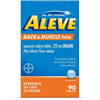 Aleve Naproxen Sodium Back and Muscle Pain Tablet (NSAID) - 90ct