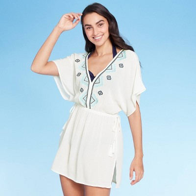 Women's Embroidered Tie Side Cover Up Dress - Kona Sol™ White