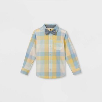 OshKosh B'gosh Toddler Boys' Plaid Woven Long Sleeve Button-Down Shirt & Bow Tie Set - Light Blue/Yellow