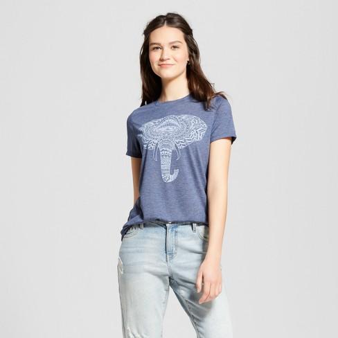 af95b873a9a Women s Elephant Short Sleeve Graphic T-Shirt - Zoe+Liv (Juniors ) Navy