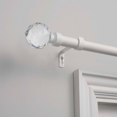 "Crystal Ball 1"" Curtain Rod and Coordinating Finial Set - Exclusive Home"