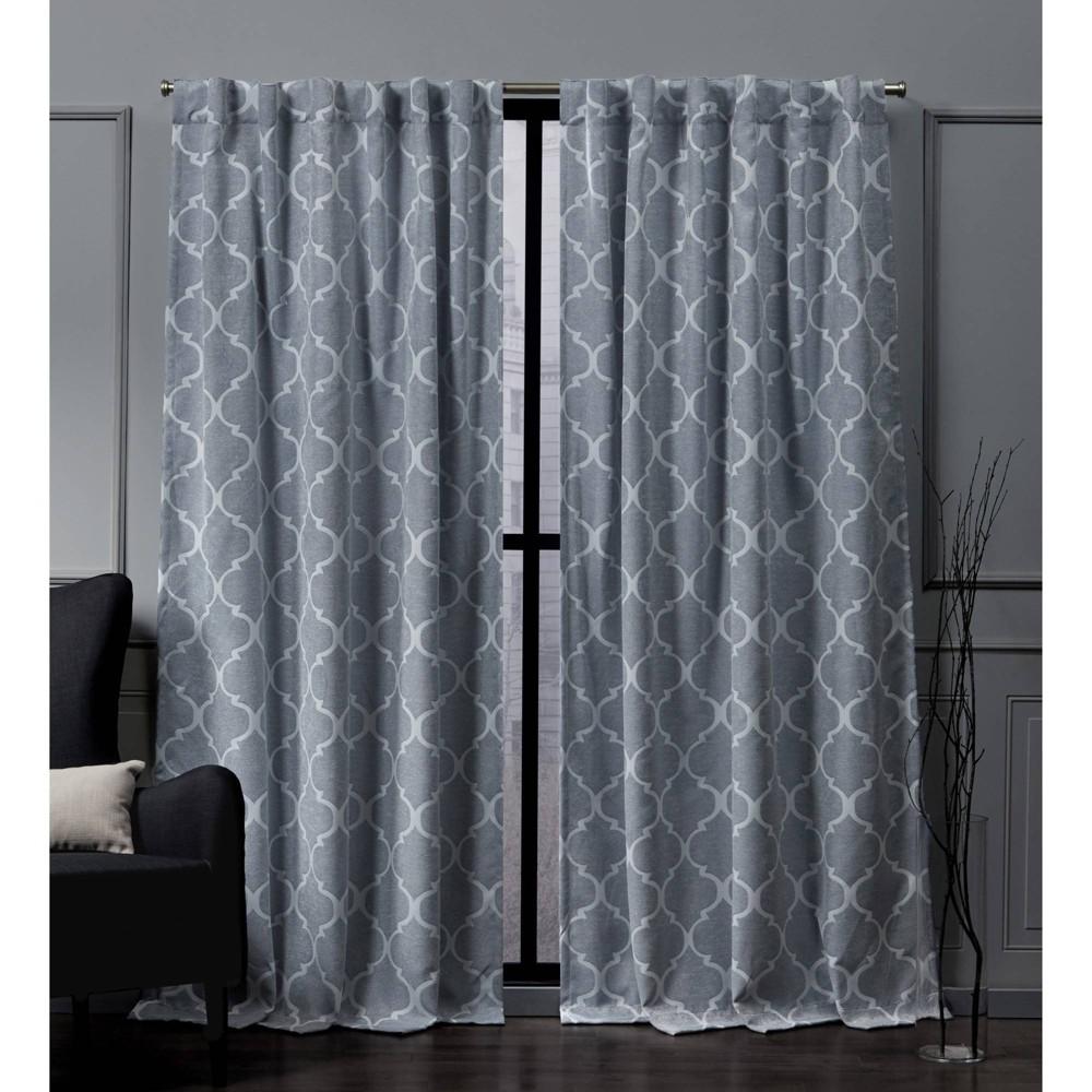 Best Price 52x84 Treillage Back Tab Blackout Window Curtain Panels Blue Nicole Miller