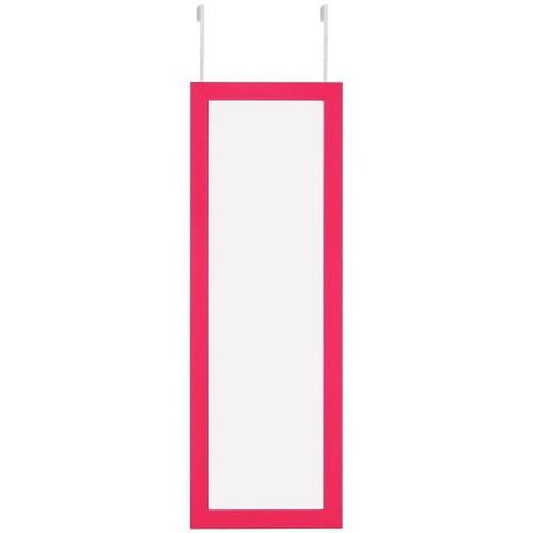 Parker Fuchsia Over-the-Door Jewelry Armoire - Makeup Storage Mirror in Pink - Posh Living - image 1 of 3