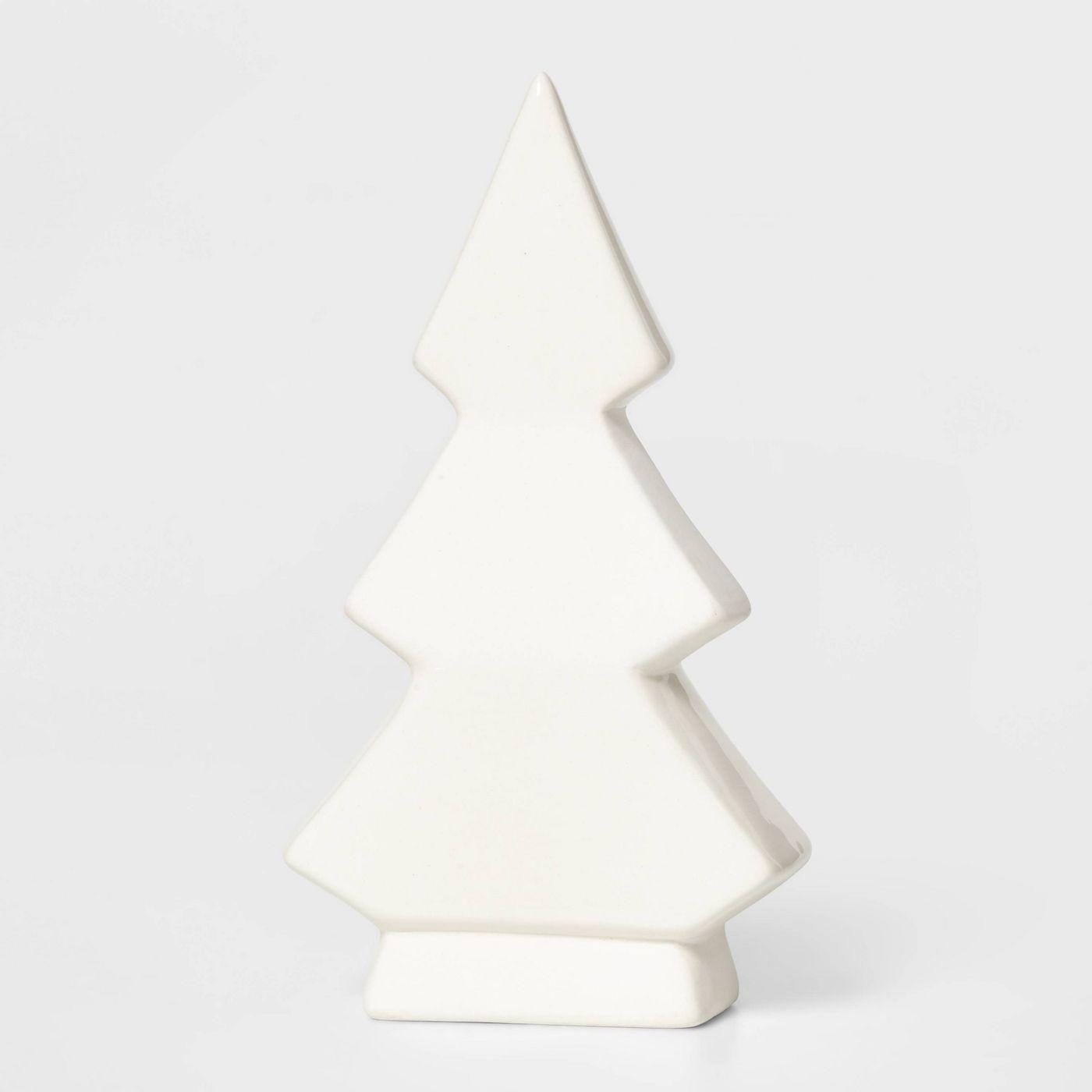 7in Ceramic 3-Tier Christmas Tree Decorative Figurine White - Wondershop™ - image 1 of 2