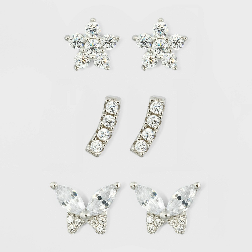 Image of Cubic Zirconia Crawler Flower and Butterfly Stud Earring Trio Set - A New Day , Women's, Size: Small, Clear