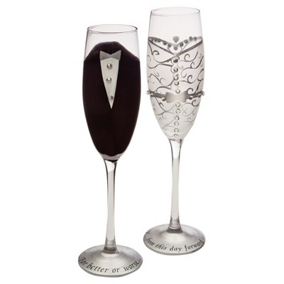 2ct Bride and Groom Champagne Flutes
