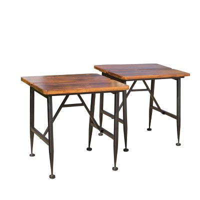 Ocala Set Of 2 Acacia Industrial Side Table   Antique Black   Christopher  Knight Home