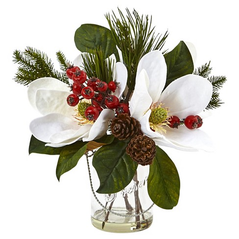 Magnolia Pine And Berry Holiday Arrangement In Glass Vase Nearly