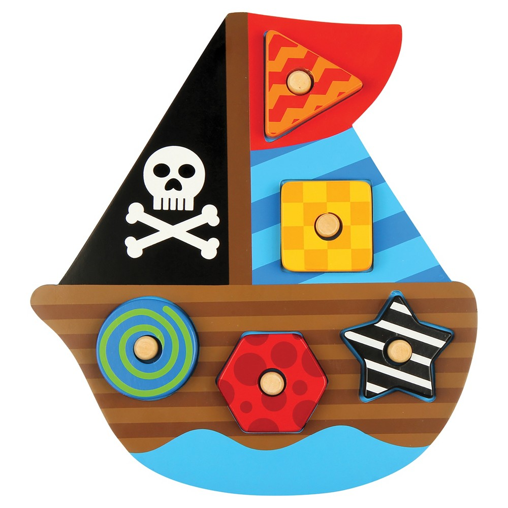 Stephen Joseph Shaped Wooden Peg Puzzle - Pirate Ship