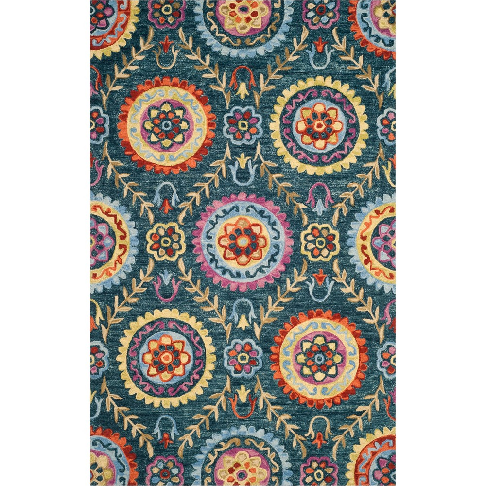 5'X8' Floral Hooked Area Rug Blue - Safavieh, Blue/Multi-Colored
