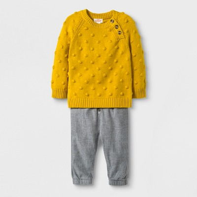 Baby Boys' 2pc Bobble Sweatshirt and Twill Pants - Cat & Jack™ Yellow 0-3M