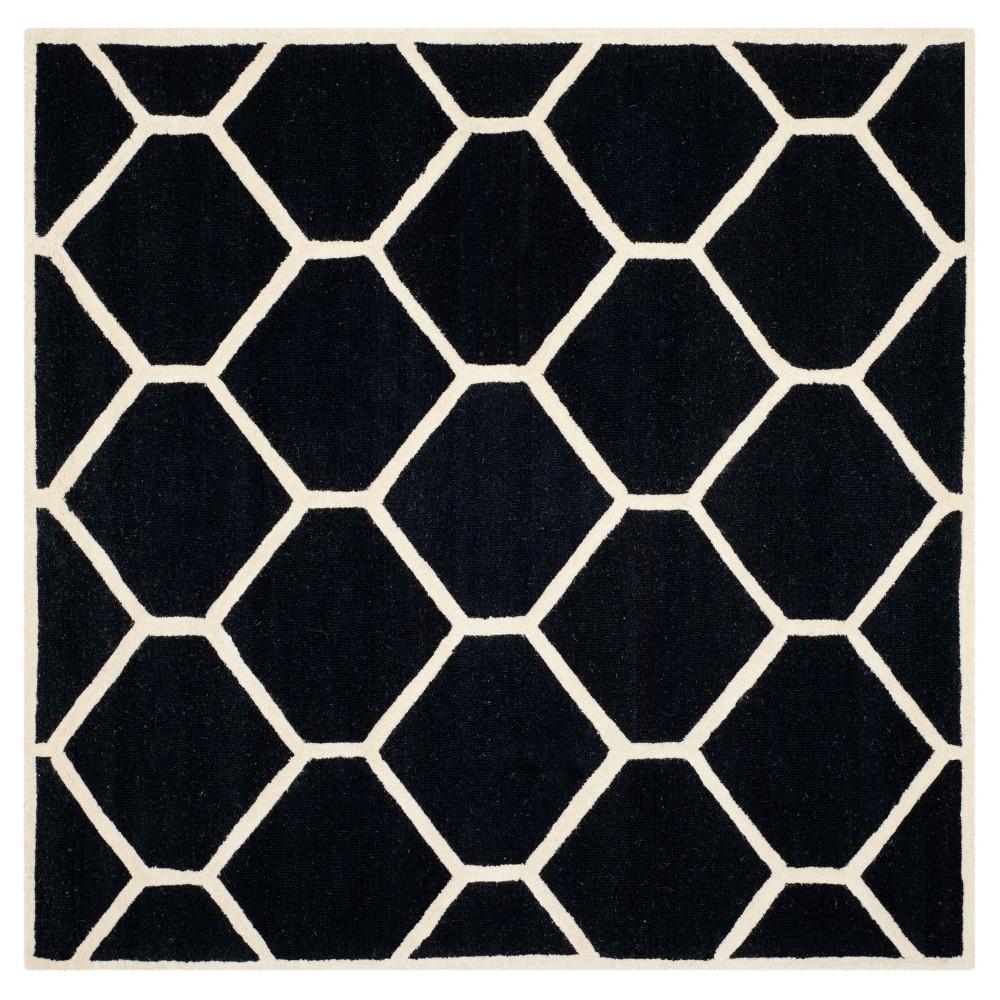 Hunter Area Rug - Black / Ivory ( 8' X 8' ) - Safavieh, Black/Ivory