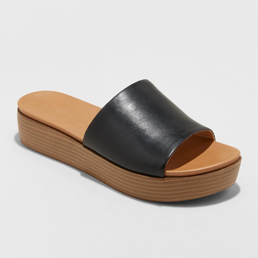 Women's Kenna Wood Flatform Slide Sandals - Universal Thread Black 6.5