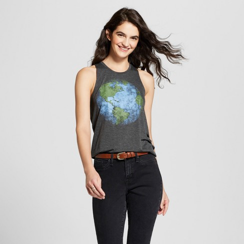 f4d110882 Women's Globe Print Graphic Muscle Tank Top - Fifth Sun (Juniors') -  Charcoal