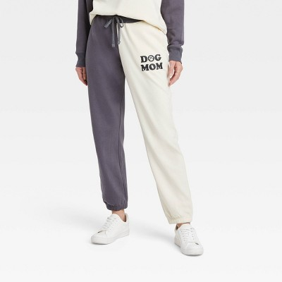 Women's Dog Mom Colorblock Graphic Jogger Pants - Off-White/Gray