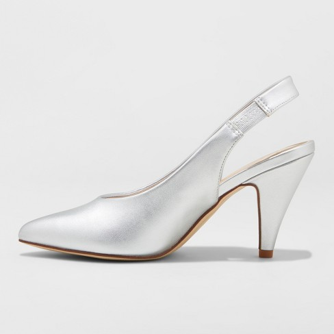 ef06329a7c1 Women s Nettie Microsuede Sling Back High Vamp Heeled Pumps - A New Day™  Silver 9   Target