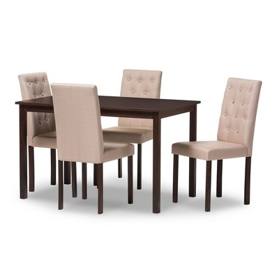 Delicieux Gardner Modern And Contemporary 5   Piece Finished And Fabric Upholstered Dining  Set   Baxton Studio