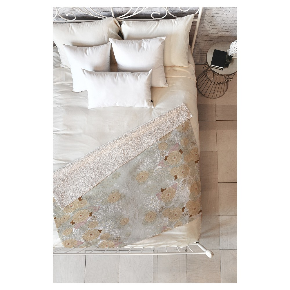 Gray Floral Iveta Abolina White Frost Sherpa Throw Blanket (50
