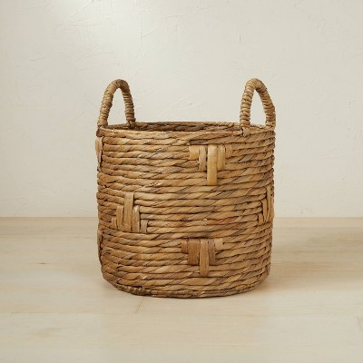 """13.78"""" x 11.81"""" Cylinder Woven Basket Natural - Opalhouse™ designed with Jungalow™"""