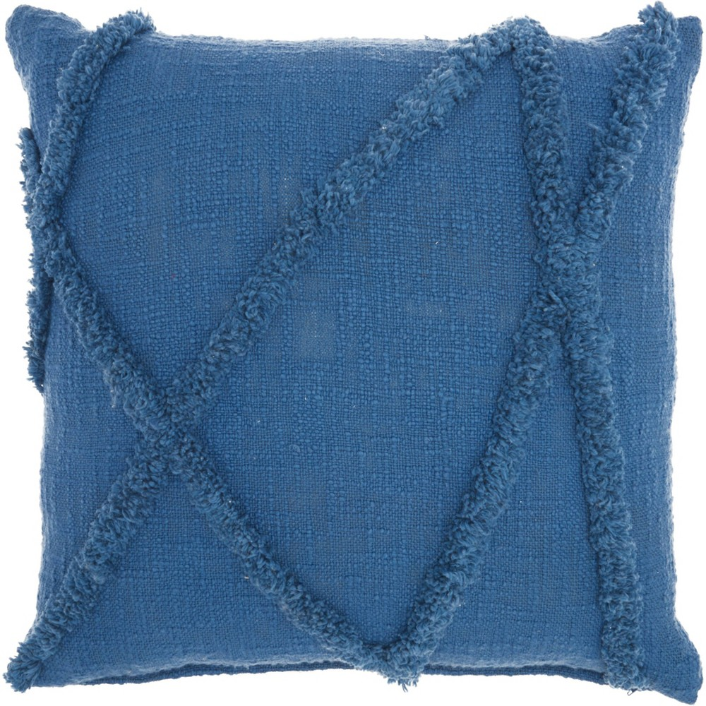 Image of Life Styles Distressed Diamond Throw Pillow Blue - Nourison
