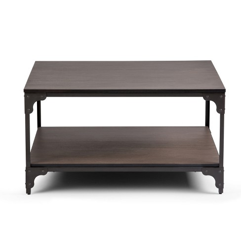 Nantucket Square Coffee Table Wood And Metal Walnut Brown Wyndenhall Target