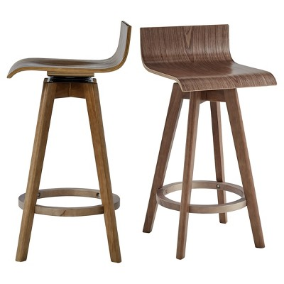 "Set of 2 24"" Tisha Mid Century Modern Swivel Wood Counter Height Barstool - Inspire Q"